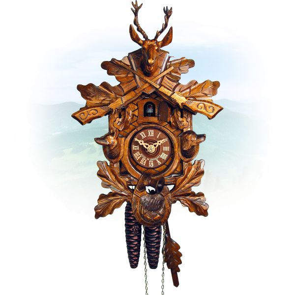 Cuckoo Clock Detroit, August Schwer: Hunting clock dog