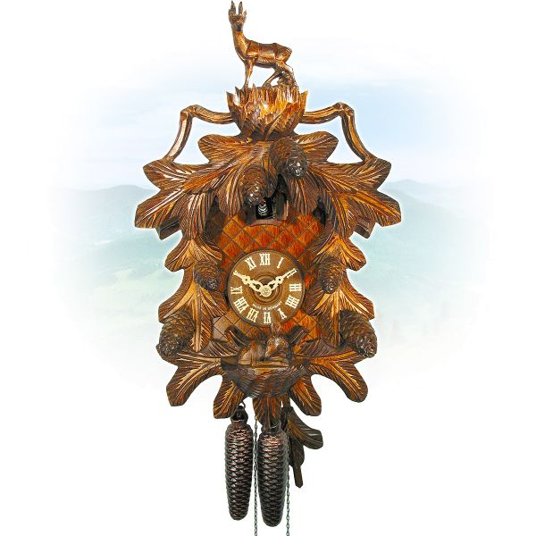Cuckoo Clock Gera, August Schwer: Capricorn & pinecone