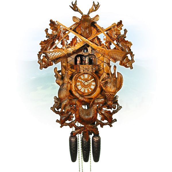 Cuckoo Clock Rennes, August Schwer: Hunting clock, antique