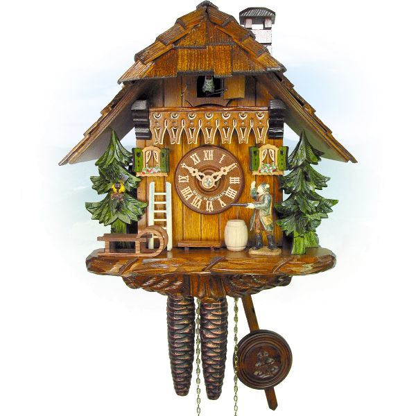 Cuckoo Clock Kitchener, August Schwer: house, hunter, bird