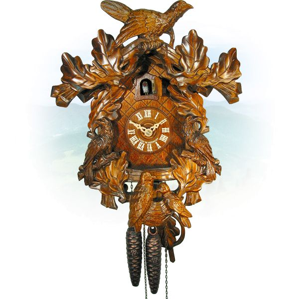 Cuckoo Clock München , August Schwer: 5-bird Oak leaves