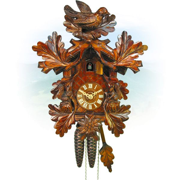 Cuckoo Clock Hamburg , August Schwer: bird, squirrel