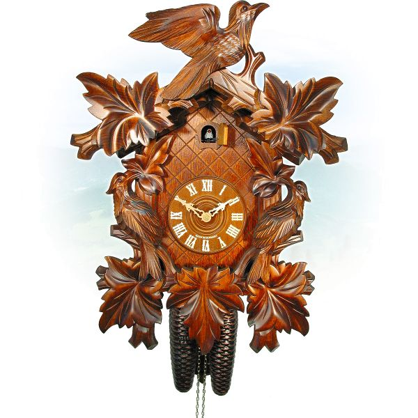 Cuckoo Clock Darmstadt, August Schwer: 7-leaves, 3-bird