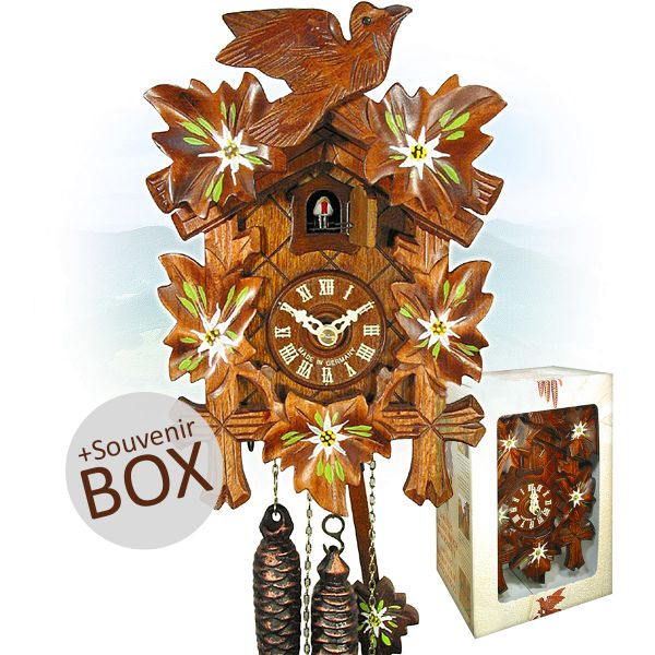 August Schwer cuckoo clock Edelweiß gift in souvenir box