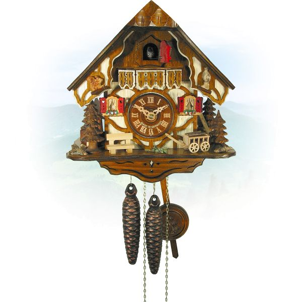 Cuckoo Clock Halifax, August Schwer: half timbered house, trees