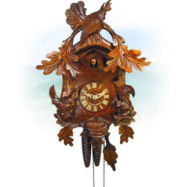 Cuckoo Clock Berlin , August Schwer: cock, bird, squirrel