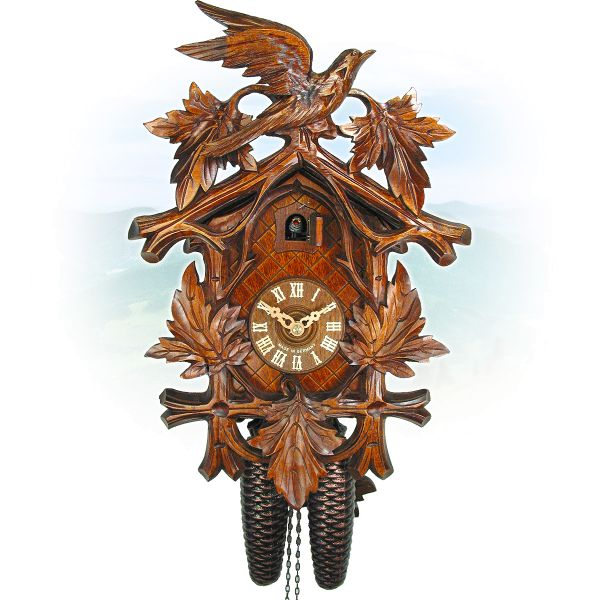 Cuckoo Clock Murcia, August Schwer: 5-leaves, bird, deep