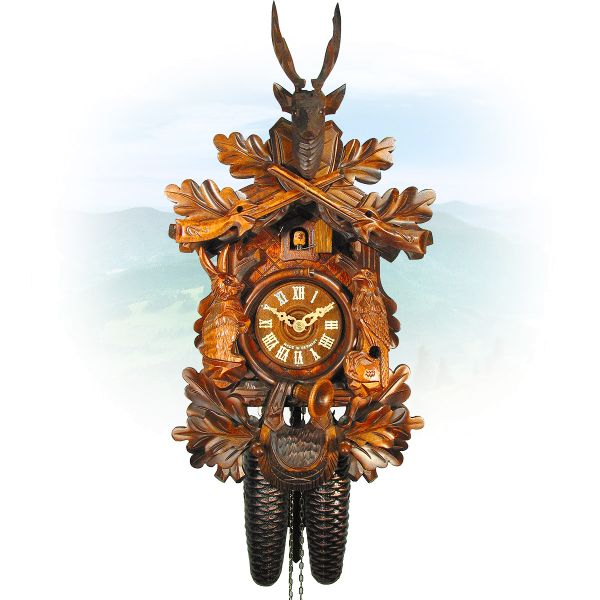 Cuckoo Clock Gelsenkirchen , August Schwer: Hunting clock with sitting figures