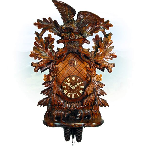 Cuckoo Clock Valencia, August Schwer: eagle, bears