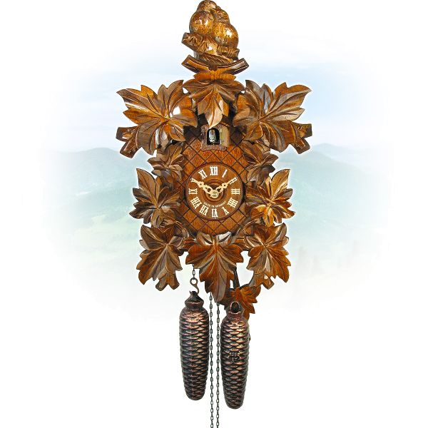 Cuckoo Clock Hanau, August Schwer: birdcouple, 8-leaves