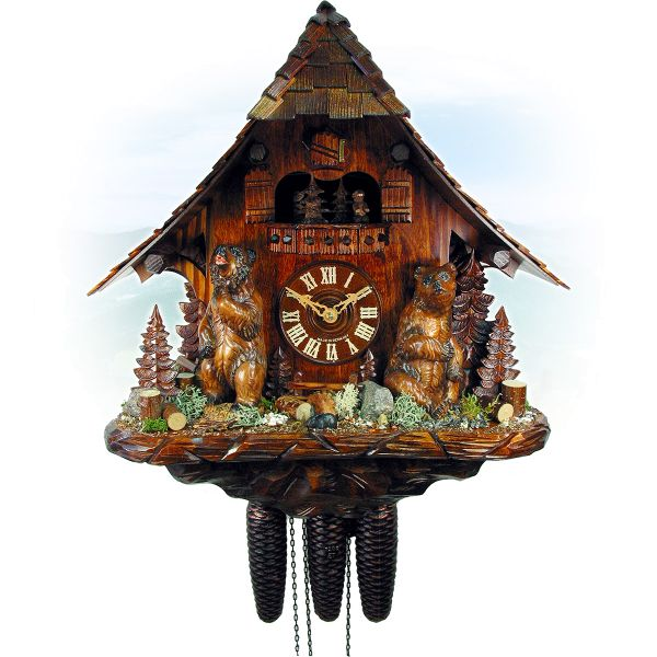 Cuckoo Clock Lugano, August Schwer: pitched roof, bears