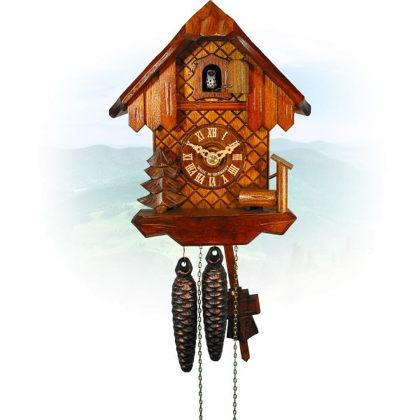 Cuckoo Clock St. Petersburg, August Schwer: house, trough, tree