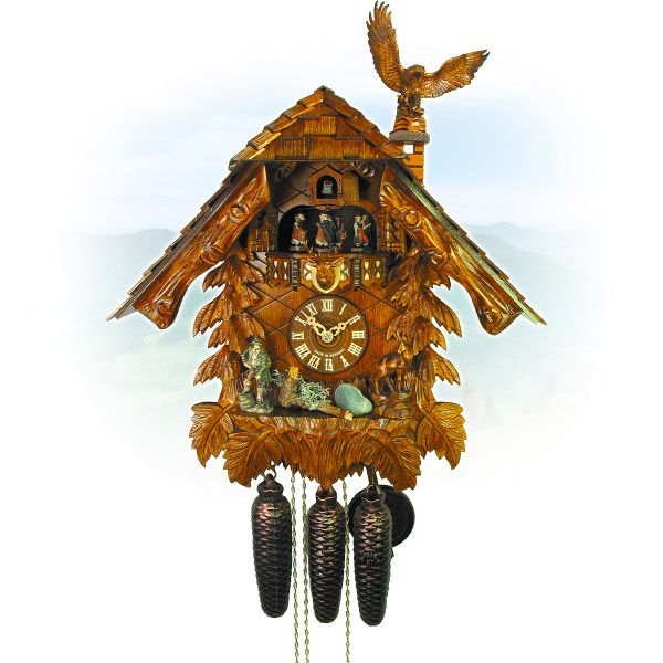 Cuckoo Clock Marseille, August Schwer: house, eagle, hunter