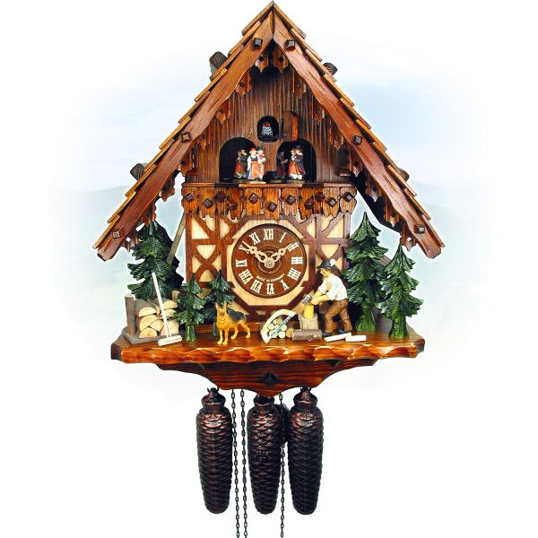 Cuckoo Clock Toulouse, August Schwer: house, woodchopper, dog