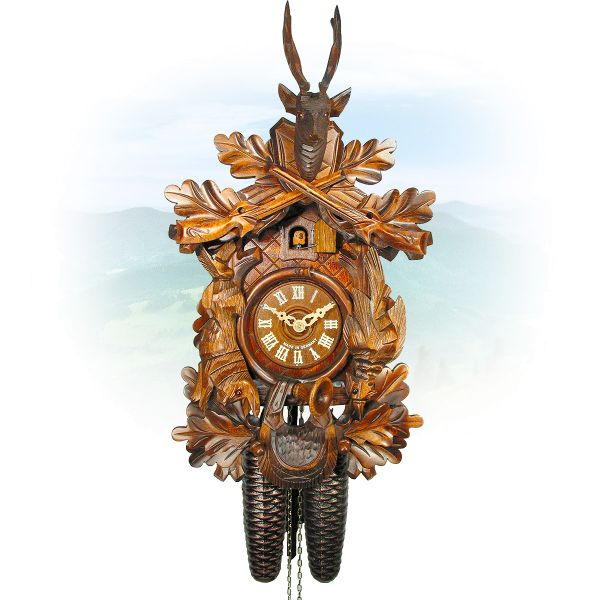 Cuckoo Clock Chemnitz , August Schwer: Hunting clock, with hanging figures