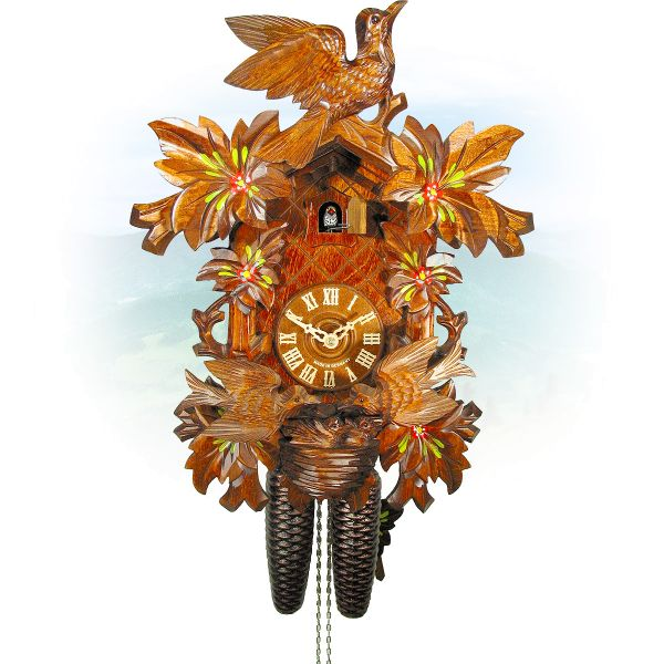 Cuckoo Clock Lübeck , August Schwer: 6-leaves, seesaw, nest