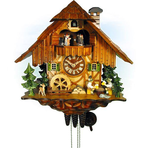 Cuckoo Clock Gandia, August Schwer: house, millwheel, beerdrinker