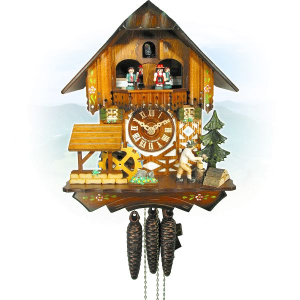 Cuckoo Clock Cáceres, August Schwer: house, millwheel, woodchopper