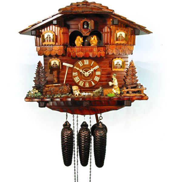 Cuckoo Clock China, August Schwer: alps house, beerdrinker