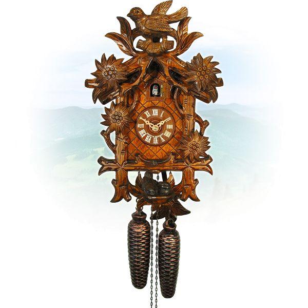 Cuckoo Clock Zwickau, August Schwer: bird, nest, Edelweiss