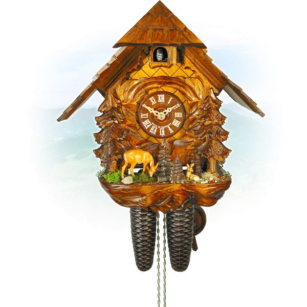 Cuckoo Clock Erlangen, August Schwer: house, deer with fawn