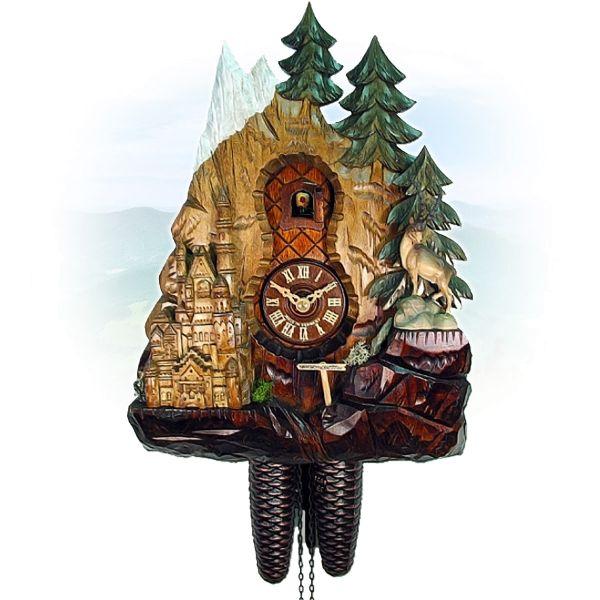 Cuckoo Clock Pforzheim, August Schwer: Neuschwanstein, chamois