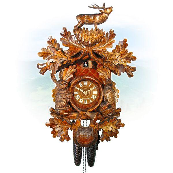Cuckoo Clock Würzburg, August Schwer: Hunting clock with standing deer