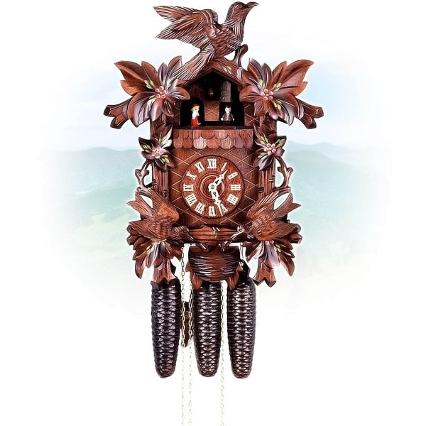 Cuckoo Clock Napoli, August Schwer: 6-leaves, seesaw, nest