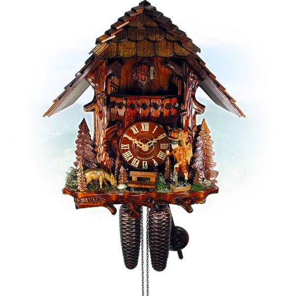 Cuckoo Clock Oviedo, August Schwer: tree trunk, clock peddler