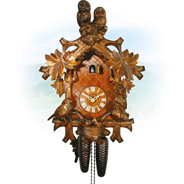 Cuckoo Clock Flensburg, August Schwer: Cuckoo with owls