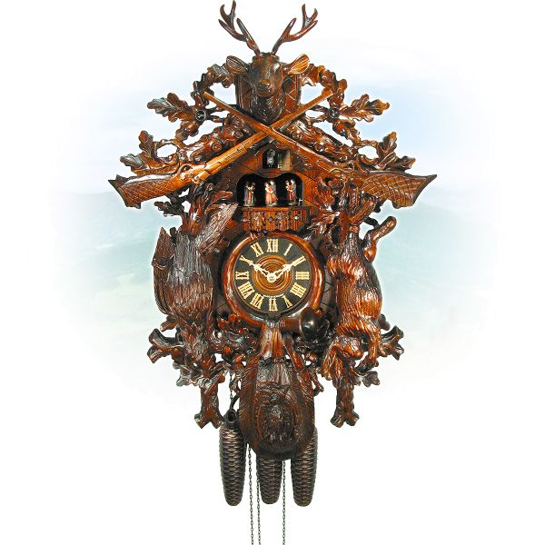 Cuckoo Clock Bologna, August Schwer: antique look Hunting clock