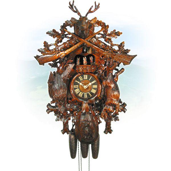 Cuckoo Clock Bologna, August Schwer: antique look Hunting clock
