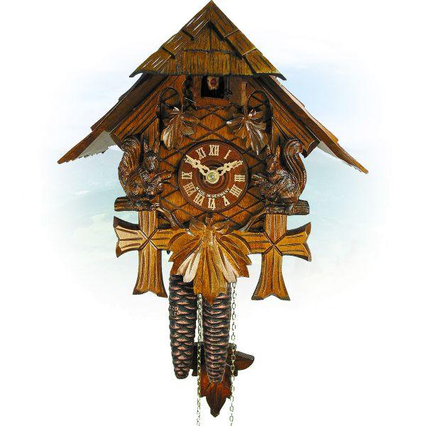 Cuckoo Clock Hamilton, August Schwer: carved roof, squirrel