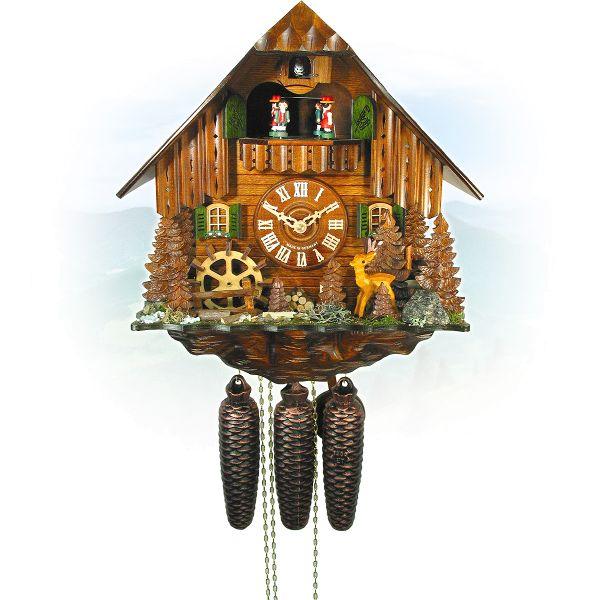 Cuckoo Clock Padova, August Schwer: roebuck, millwheel
