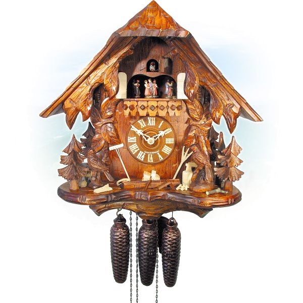 Cuckoo Clock Lyon, August Schwer: house, tendrils, birds