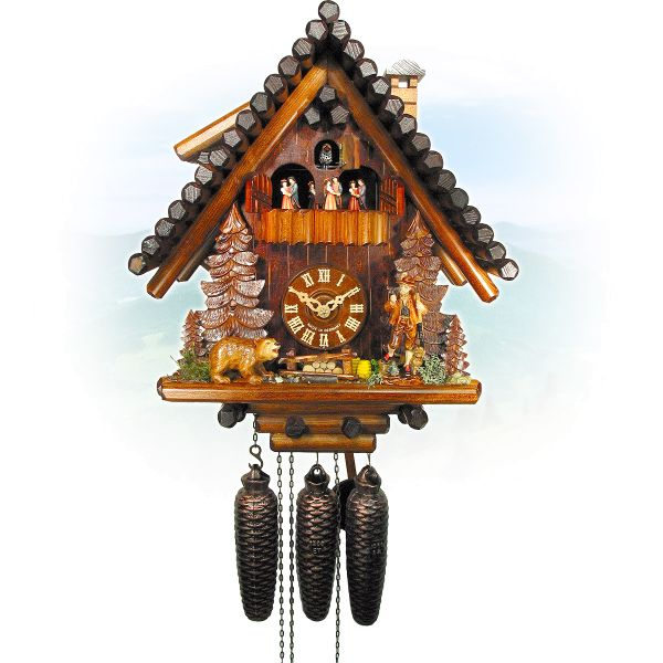 Cuckoo Clock Montpellier, August Schwer: Ferndobel, hunter, bear