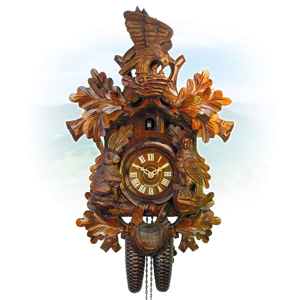 Cuckoo Clock Tübingen, August Schwer: Hunting clock, eaglenest
