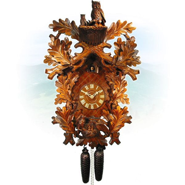 Cuckoo Clock St. Gallen, August Schwer: owls, birdnest