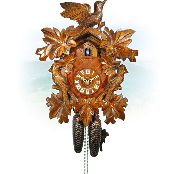 Cuckoo Clock Erfurt , August Schwer: 7-leaves, 3-bird