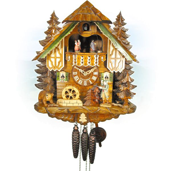 Cuckoo Clock Toledo, August Schwer: house hunter bear