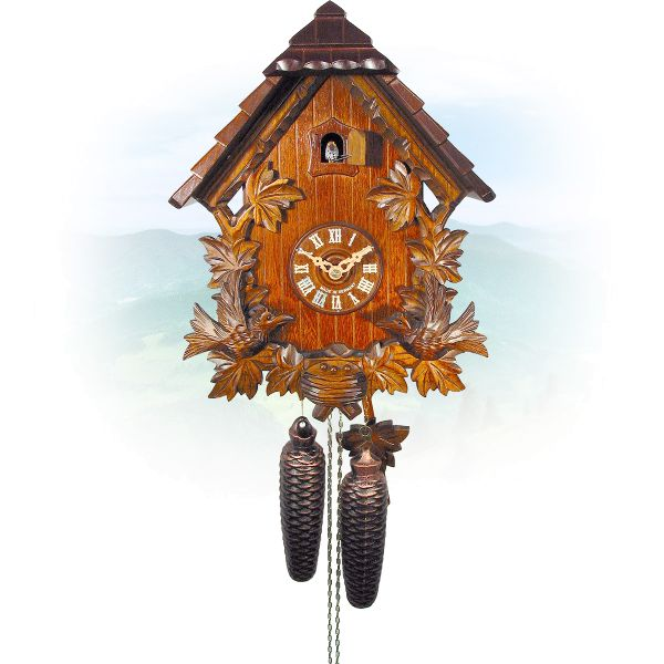 Cuckoo Clock Graz, August Schwer: 10-leaves, swallow