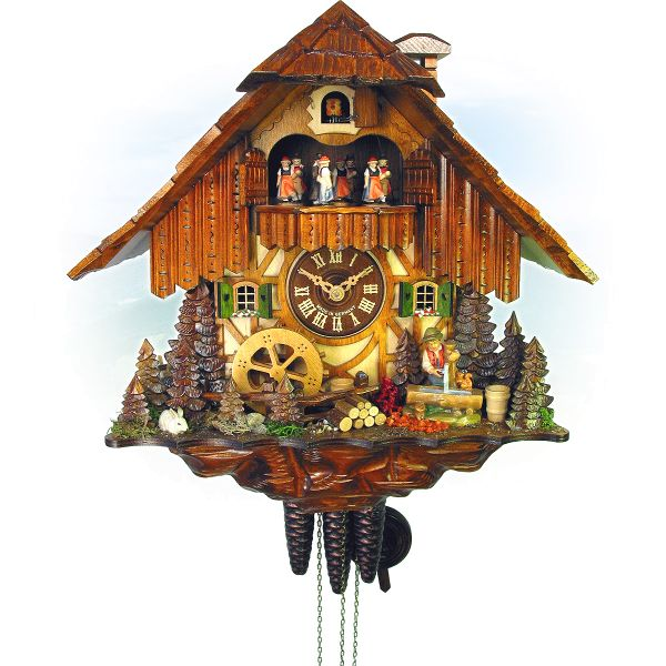 Cuckoo Clock Pontevedra, August Schwer: child at fountain, millwheel