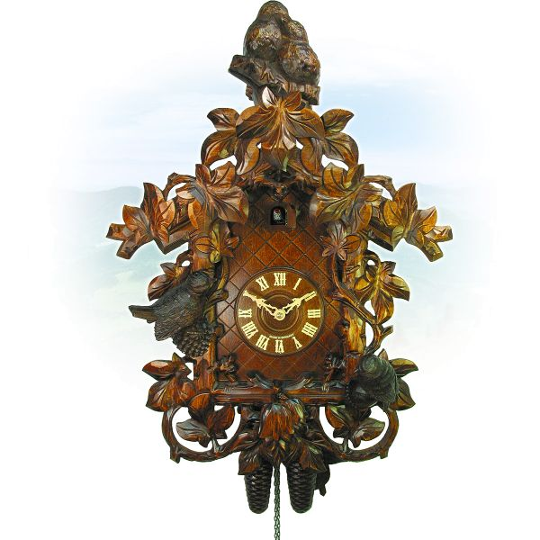 Cuckoo Clock Palma, August Schwer: birds in tendrils