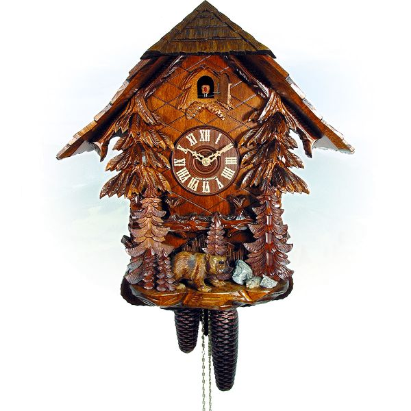 Cuckoo Clock Recklinghouseen, August Schwer: house, forest, bear