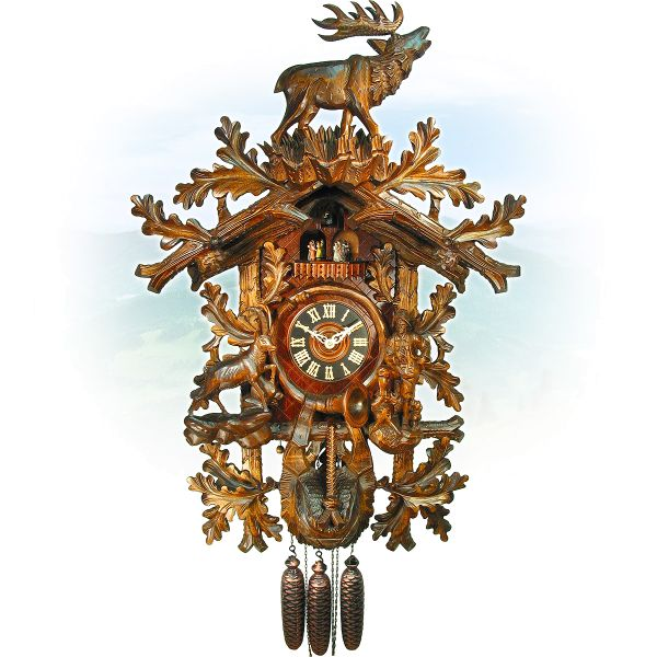 Cuckoo Clock Firenze, August Schwer: hunter, chamois, deer