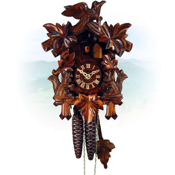 Cuckoo Clock New York, August Schwer: 5-leaves, bird, squirrel