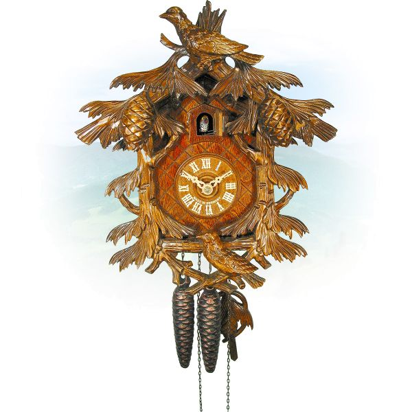 Cuckoo Clock Wien, August Schwer: 3-bird pine needles