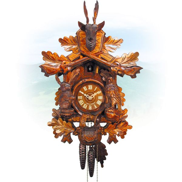 Cuckoo Clock Plano, August Schwer: Hunting clock with sitting figures