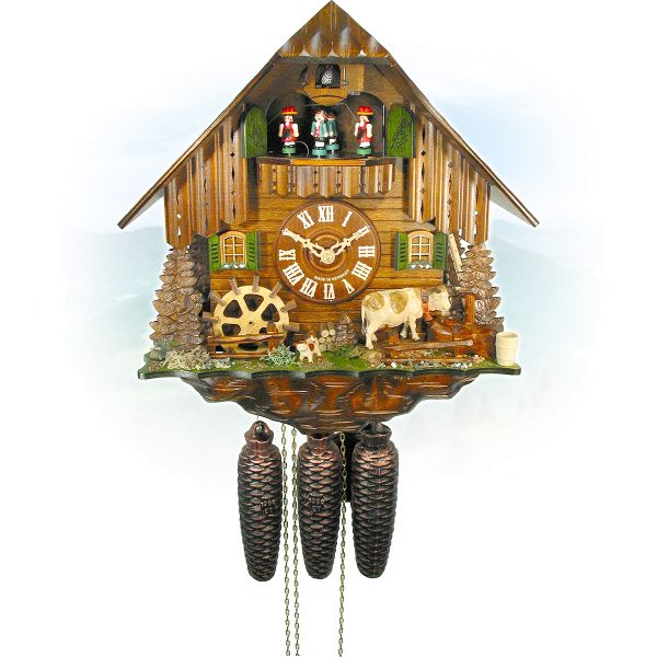 Cuckoo Clock Trieste, August Schwer: cow, millwheel