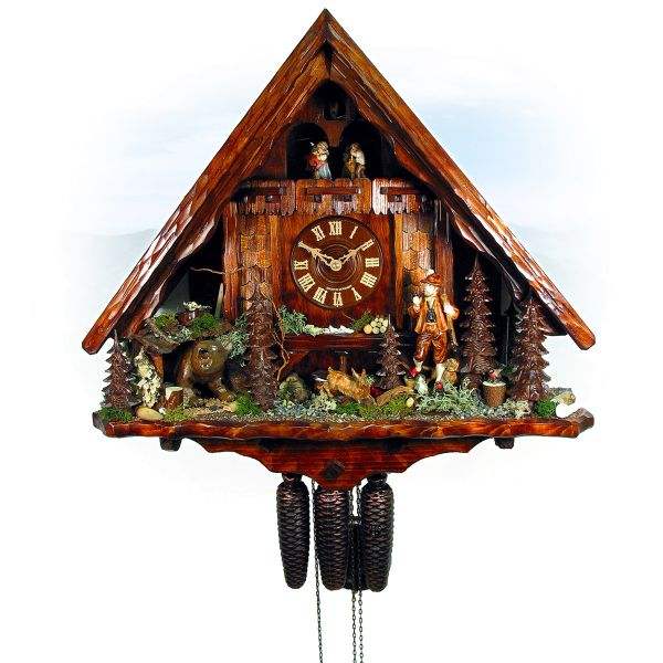Cuckoo Clock Switzerland, August Schwer: hunting house, hunter, bear